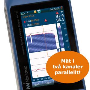 Nor150 Ljudmätare med möjlighet att mäta i två kanaler parallellt.